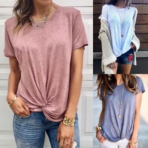 Womens-Summer-Cotton-Shirts-Blouse-Casual-Loose-O-Neck-T-shirt-Short-Sleeve-Tops