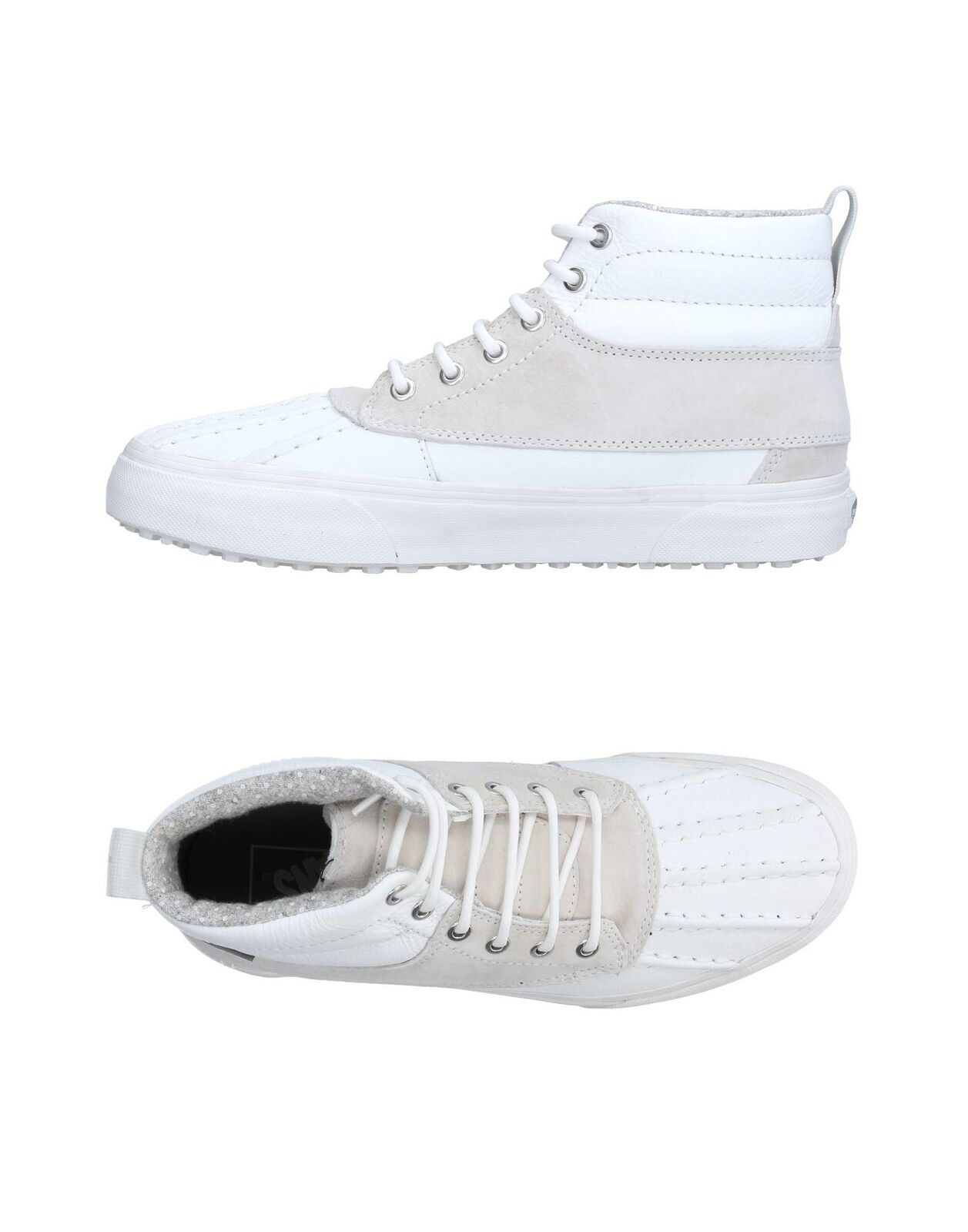 4fa1c664f815 Vans Mens Mens Mens High-Top Leather Sueded Effect Sneakers Trainers White  UK 6.5 US