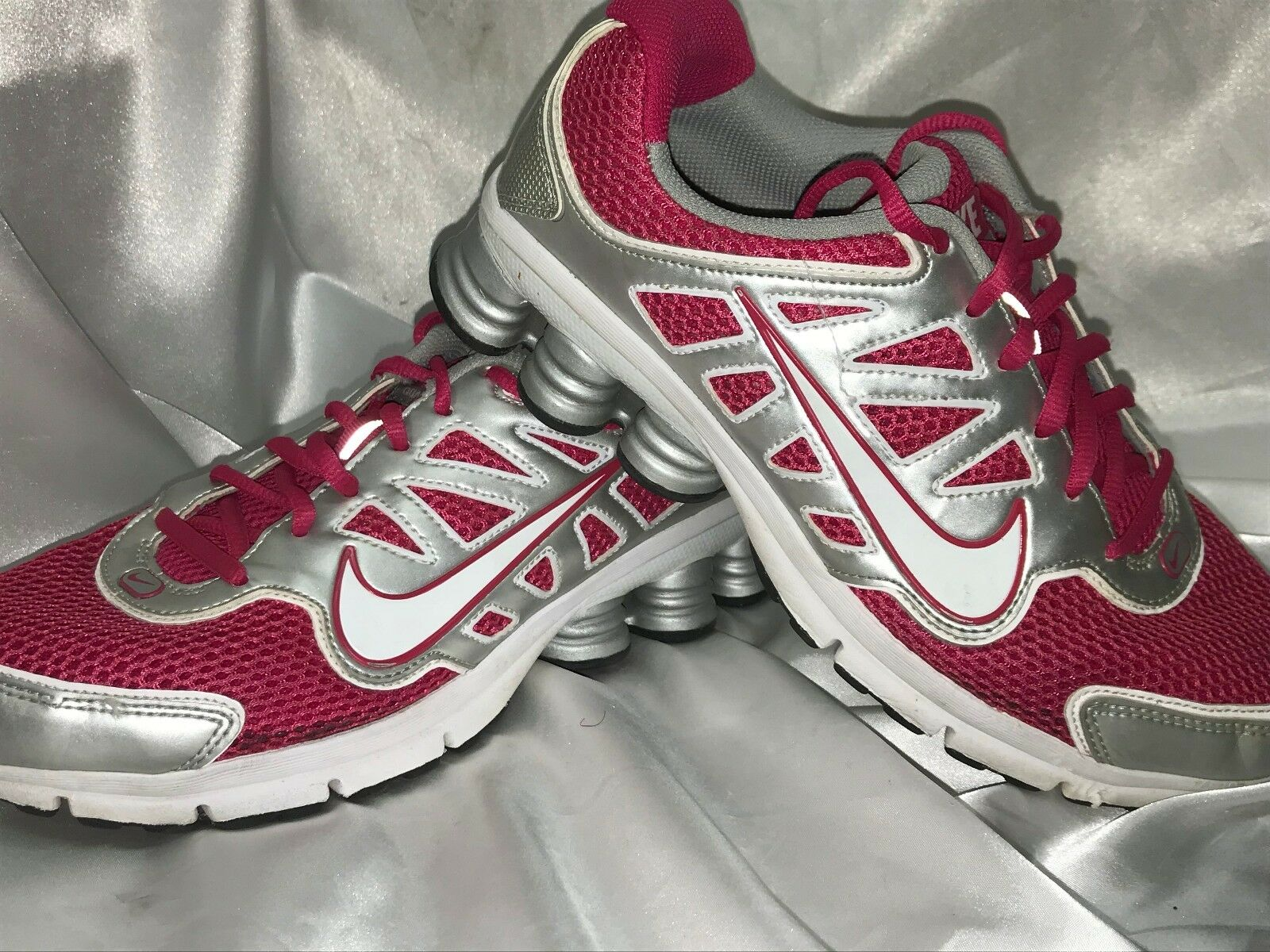 NIKE SHOX QUALIFY 2+ RUNNING SNEAKERS Pink Gray White 442115-616 WOMEN Sz 8 The latest discount shoes for men and women