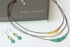 Silpada SET Sterling Silver & Patina Brass Cayman & Fresco N3114 Earring W3155