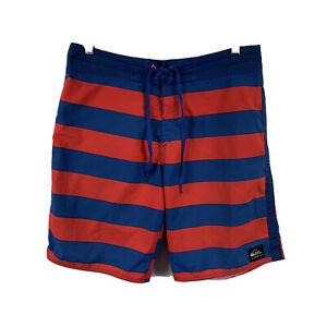 Quiksilver-Mens-Board-Shorts-Size-32-Swim-Shorts-Blue-Red-Striped