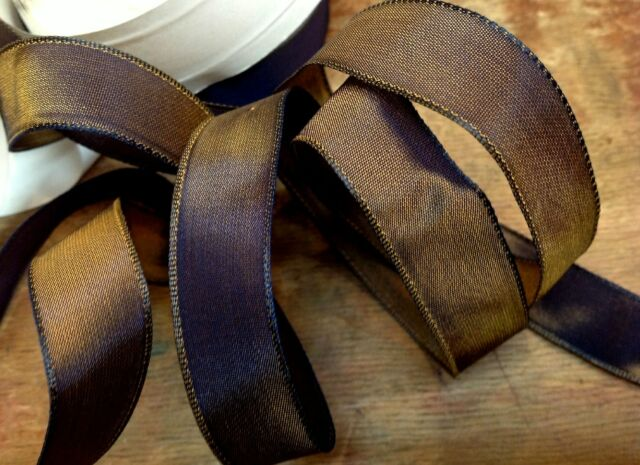 """VINTAGE 5//8/"""" FRENCH RIBBON wire SOLID 1yd PUTTY Made in France"""