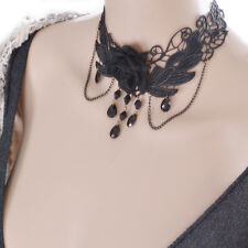 Gothic Flower Black Lace Gemstone Pendant Choker Collar Victorian Necklace
