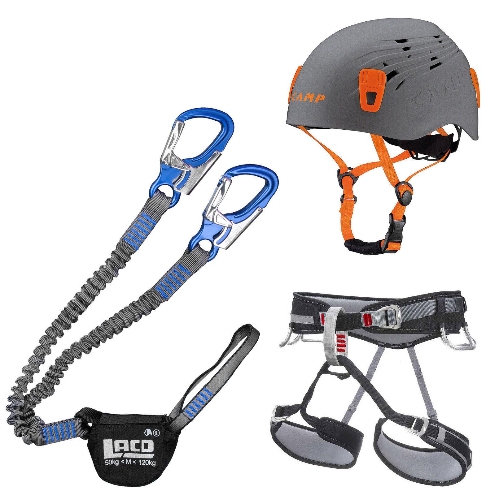 Klettersteigset LACD Pro Evo Blau + Gurt Start + + + Helm Camp Titan grau 54-62cm 6ea7db