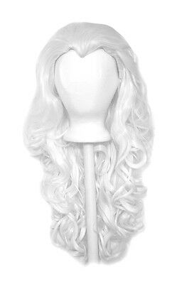 """25/"""" Curly Layered Cut with Widow/'s Peak and no Bangs Brown White Bangs Wig NEW"""