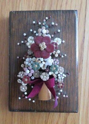 Vintage Pol O Craft Nail Flower Art 1977 Pauline Owens Wall Decor Retro 3d E7 Ebay