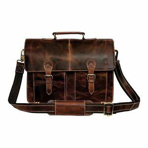 Rustic Town 16 Inch Leather Shoulder Sling Laptop Messenger Bag For Unisex
