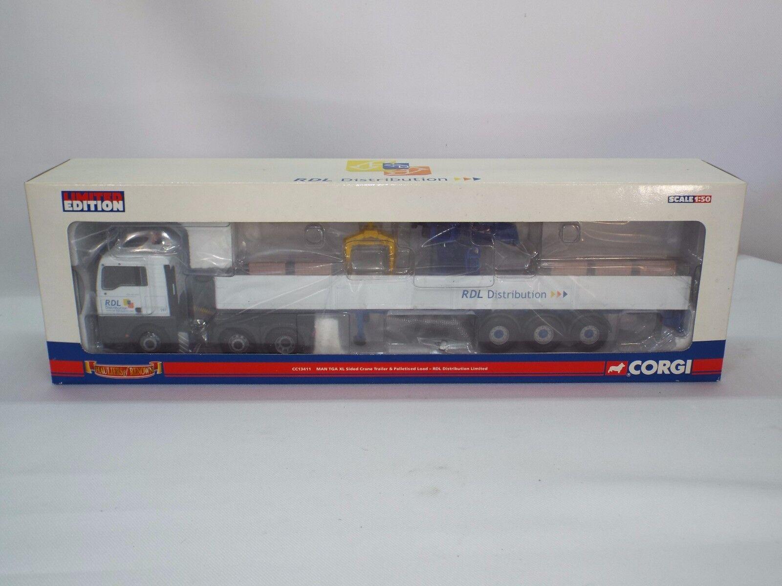 Corgi Hauliers of renown No 13411 MAN TGA XL Dropside trailer crane and load New