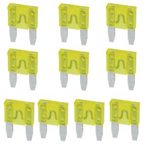 20 A Mini Sicherung KFZ Auto Moto Flachstecksicherung gelb 10 Stück
