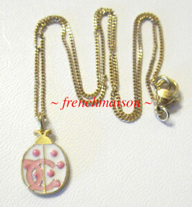 AUTHENTIC-CHANEL-CC-Logo-NECKLACE-Pink-LadyBug-LadyBird-Small-Baby-Animal-New