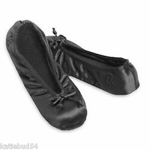Ladies-Isotoner-Satin-Ballet-Style-Slippers-BLACK-Stretch-Soft-Gray-Suede-Sole