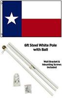 3x5 Texas Flag With 6ft Residential White Flag Pole Kit Gold Ball Top 3'x5' Set