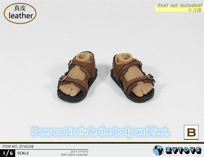 1//6 Scale Toy Brown Leather Like Sandals Foot Type
