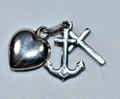 925 Sterling Silver Polished Anchor Heart and Religious Cross Charm Pendant