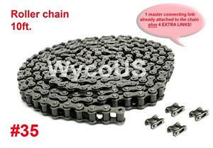 CHAIN ASSEMBLY, ROLLER, #35 ,GO KARTS, SCOOTERS, 10',5 CONNECTING LINKS INCLUDED