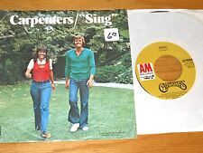 "POP 1973 45 RPM w/PICTURE SLEEVE - CARPENTERS - A&M 1413 - ""SING"""