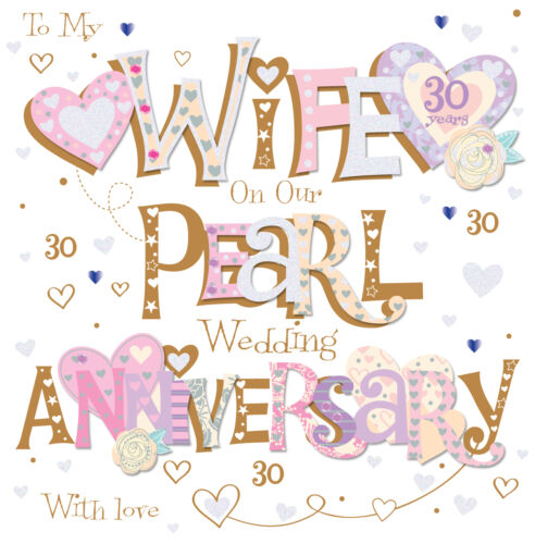 """Wife Pearl 30th Wedding Anniversary Greeting Card 8/"""" Square Handmade Cards"""