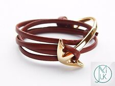 Gold Half Bent Anchor Brown Leather Bracelet Wrap Around Unisex Adjustable
