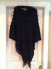 Womens Black Wool Cape/wrap/shawl/poncho/coat One Size