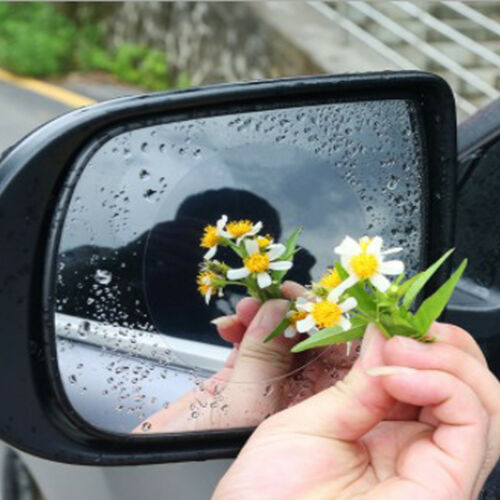 2pc Car Anti Water Mist Film Anti Fog Rainproof Rearview Mirror Protective Film