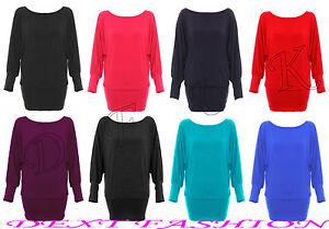 Off-The-Shoulder-Tops-Plain-T-Shirt-Long-Sleeve-Jumper-Jersey-Dress-Batwing-Size