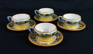 Vintage Set of 4 Porcelain Tea Cups and Saucers Hand Painted Fruit Saca Italy