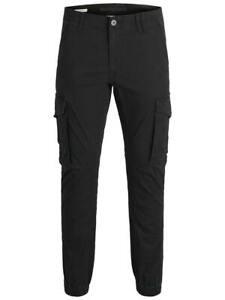 Jack /& Jones Mens Slim Fit Cargo Pants Black Army Camo Green military Paul Chop