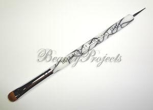 Nail-Art-Kolinsky-French-Brush-14-with-Dotting-Pen-High-Quality-White-Marble