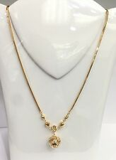 18k Solid Yellow Gold Wheat Chain/Necklace Ball Dangle Pendant, 6.39Grams. 17""