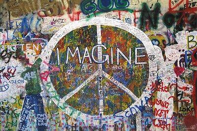JOHN LENNON ~ IMAGINE PEACE WALL ~ 24x36 POSTER ~ Prague Czech Republic Music