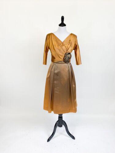 Divine! VTG 1950s Gold Bronze Satin Cocktail Dress