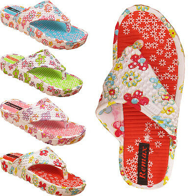 Señoras Mujeres Floral Vacaciones Verano Playa Chanclas Toe Post Sandalias Talla