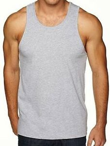 e43e718830dad5 Next Level Apparel New Mens Solid Heather Grey Tank Top Tee Fashion ...