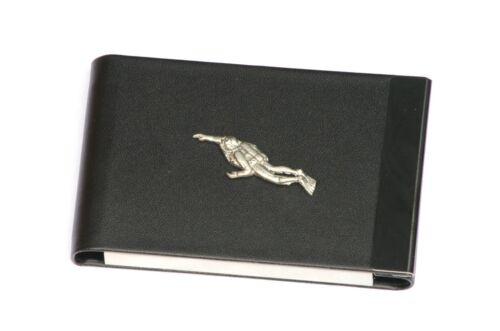 Diver Design Black PU and Metal Business or Credit Card Holder Gift