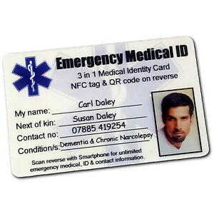 Medical Id Card Emergency Identity Wallet Purse Smart Qr