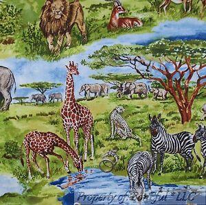BonEful-Fabric-FQ-Cotton-Quilt-Scenic-African-Animal-Safari-Giraffe-Rhino-Zebra