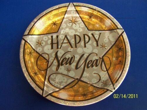 """Platinum Party New Year/'s Eve Party 9/"""" Dinner Plates"""