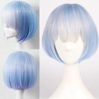 Blue Ombre Harajuku Lolita Neat Bangs Wig Short Straight Cosplay Bob Anime Hair