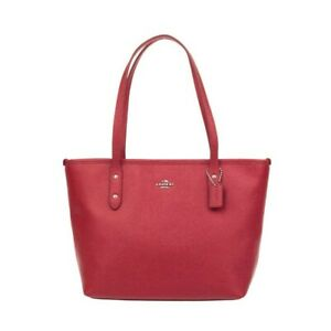 NWT-COACH-Mini-City-Zip-Top-Tote-Bag-Purse-Leather-Shoulder-True-Red-Gold-F22967