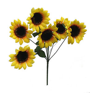 "6 Yellow Sunflowers ~ 13"" Bush Silk Wedding Flowers Bouquets Centerpieces"