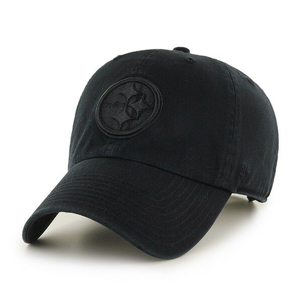 Pittsburgh Steelers 47 Brand Clean Up Hat Adjustable Cap Black on Black