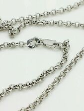 """10k Solid White Gold Round Rolo Link Necklace Pendant Chain 20"""" 2.3mm"""