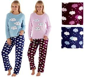 a7687d8f6f301 Ladies Snow Clouds   Stars Plush Cosy Fleece Lounge Pyjamas Set ...