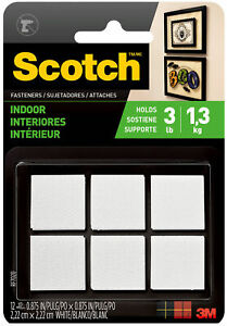 3M-Scotch-Hook-amp-Loop-Square-Fasteners-White-7-8-034-Permanent-Indoor-12-Sets
