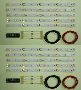 S541-10-Stueck-LED-Waggonbeleuchtung-200mm-warmweiss-analog-digital-Bausatz