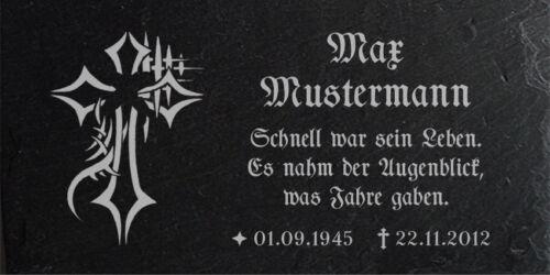 Für Unfallkreuz oder Grabkreuz Grabplatte Kreuz-511 ► Wunsch Gravur ◄ 20x10 cm