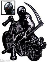 """GRIM REAPER with SYTHE on MOTORBIKE BACK PATCH 23CM x 30CM (9"""" x 12"""") Sew on"""