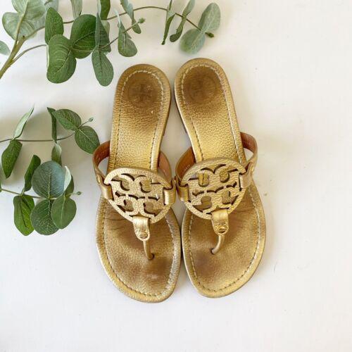 Tory Burch Miller Gold Metallic Sandals Shoes Sz 8