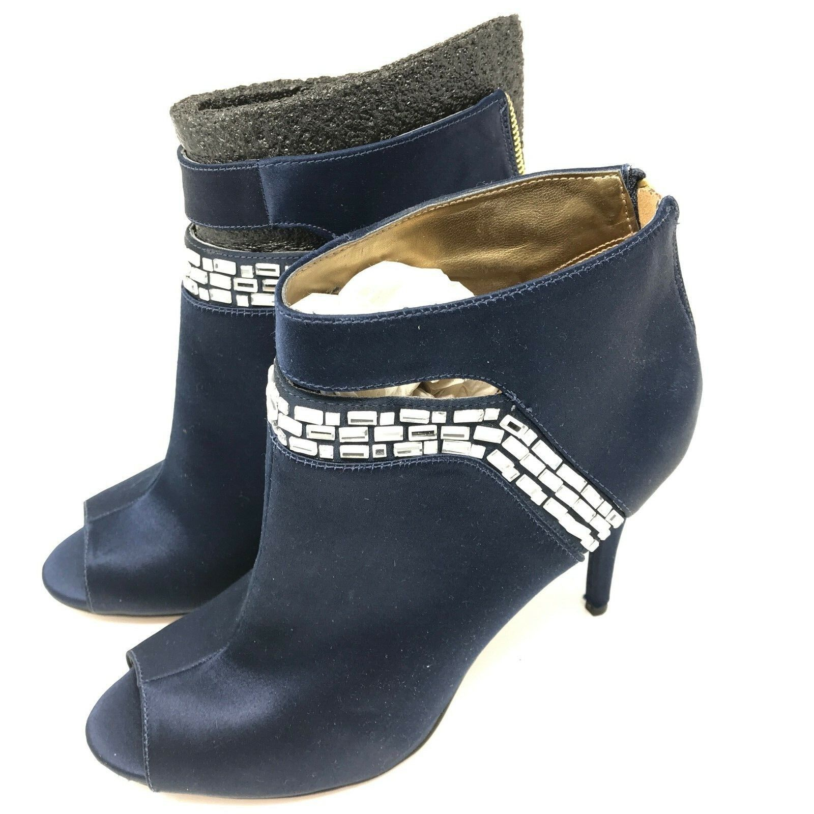 Nine Nine Nine West Women's Do It Now Ankle Booties Navy SZ 8 Stiletto Rhinestone EUC Box 5d3d9d