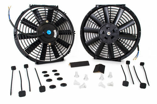 "UNIVERSAL 2 X  14/"" ELECTRIC ENGINE COOLING FAN WITH 2 X FITTING KIT STRAIGHT"